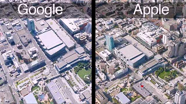 Maps from rivals Google and Apple