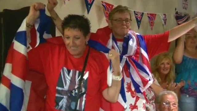 Revellers in Flint celebrate Jade Jones' Olympic victory