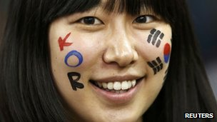 A South Korean fan at the Millennium Stadium last weekend for the quarter final