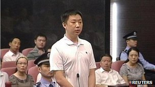 Zhang Xiaojun in court in Hefei, 9 Aug