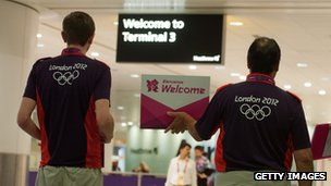 London 2012 games makers stand ready at Heathrow airport