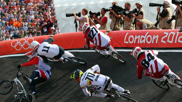 BMX pile up in semi final heat