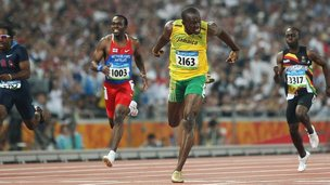 Usain Bolt at the Beijing Olympics.