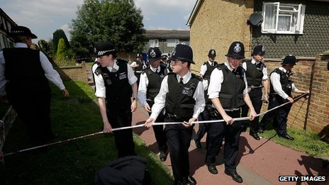 Officers set up cordon around Tia's grandmother's house