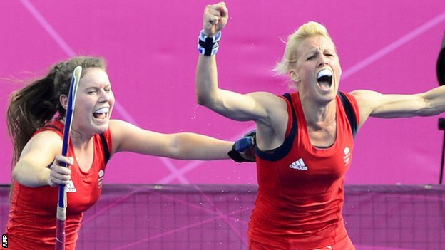 Alex Danson (right) celebrates after scoring for GB