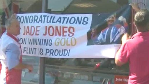 Banner in Flint to Jade Jones