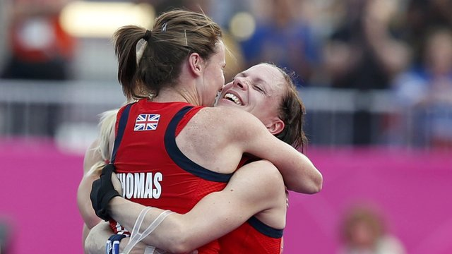 Sarah Thomas and Kate Walsh celebrate GB's bronze