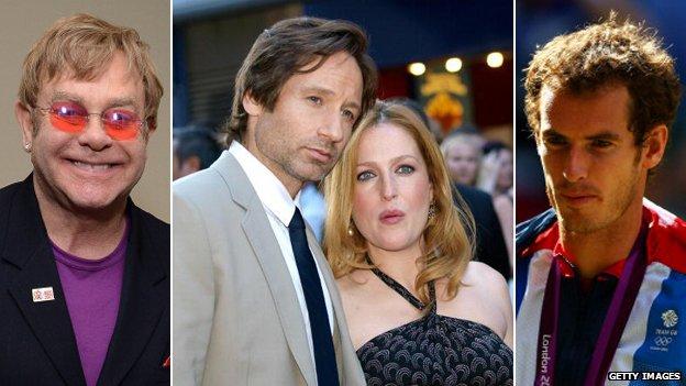 Elton John, David Duchovny and Gillian Anderson, Andy Murray
