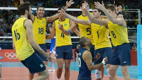 Brazil men's volleyball team celebrate
