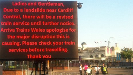 Sign outside Cardiff Central railway station