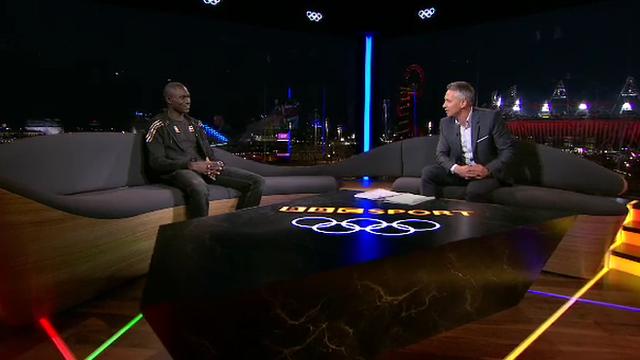 Kenyan David Rudisha and BBC Sport's Gary Lineker