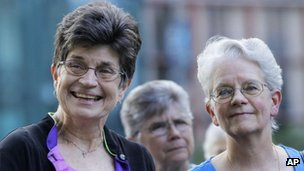 Sister Pat Farrell and Sister Florence Deacon participates in a vigil with supporters in St Louis, Missouri, 9 August 2012
