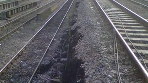 The landslip happened between Cardiff Queen Street Station and Cardiff Central