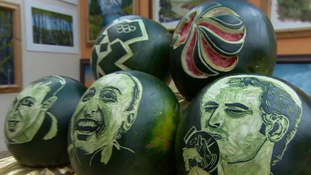 Olympic medal winners carved out of melons by a Leicester artist