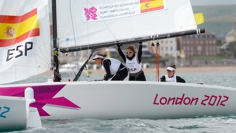 The winning Spanish sailors in the Elliott 6m class