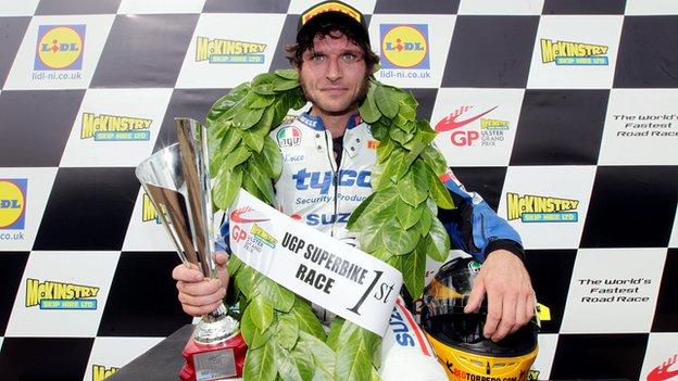 Guy Martin won the Ulster Grand Prix main Superbike race