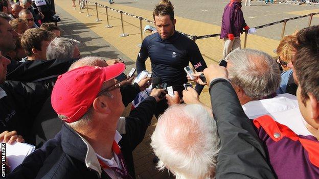 British sailor Ben Ainslie faces the media