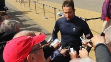 British sailor Ben Ainslie faces the media