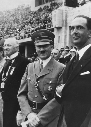 Adolf Hitler (centre) at the 1936 Games