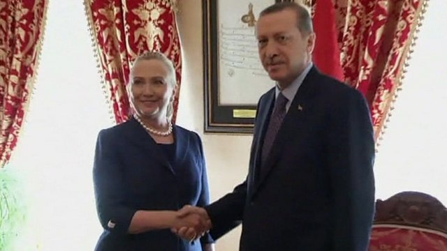 Hillary Clinton and Turkey's Prime Minister Recep Tayyip Erdogan