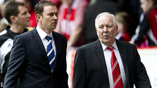 Derek Adams (left) with Aberdeen boss Craig Brown