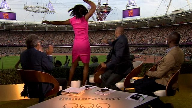 John Inverdale, Colin Jackson, Michael Johnson and Denise Lewis