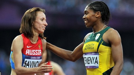 Caster Semenya (right) congratulates Mariya Savinova