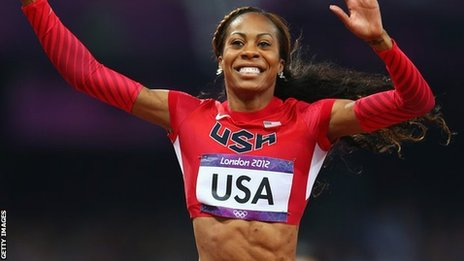Sanya Richards-Ross celebrates victory for USA