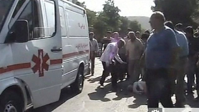 Ambulance attends quake victim