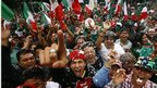Mexican fans celebrate after their team beat Brazil in the men's football final