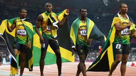 Yohan Blake, Usain Bolt, Nesta Carter and Michael Frater