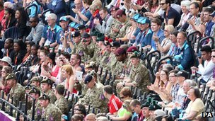 Soldiers in the crowd at the Olympic Stadium