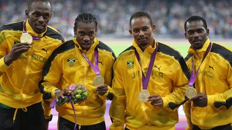Usain Bolt, Yohan Blake, Michael Frater and Nesta Carter