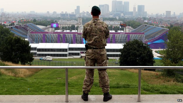 A soldier overlooks Greenwich Park equestrian venue