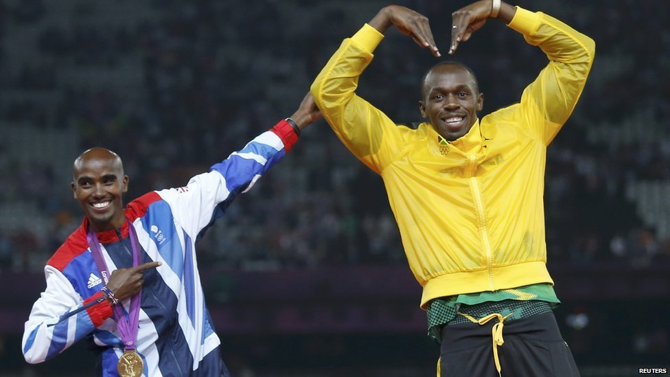 Mo Farah (left) and Usain Bolt