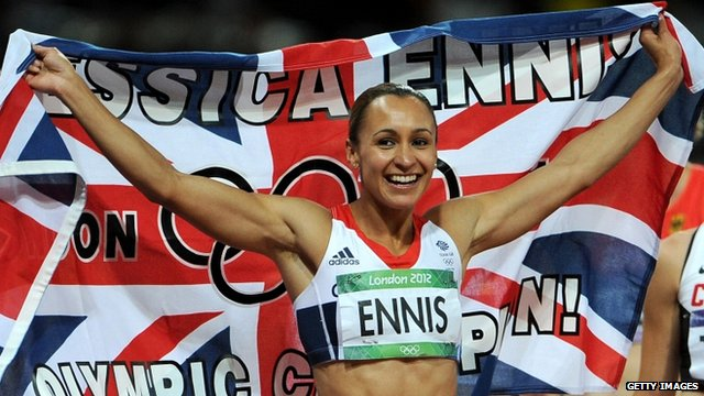 Jessica Ennis after winning the heptathlon
