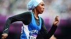 Somalia's Zamzam Mohamed Farah competes in the women's 400m heats