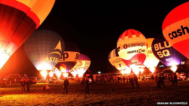 A night glow takes place at Bristol International Balloon Fiesta