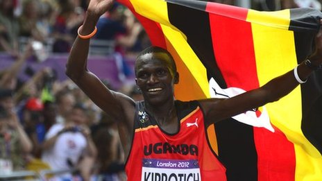 Stephen Kiprotich wins the marathon