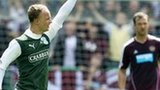 Leigh Griffiths celebrates his goal for Hibernian