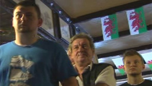Regulars at The Picton Arms, Newport watch the fight