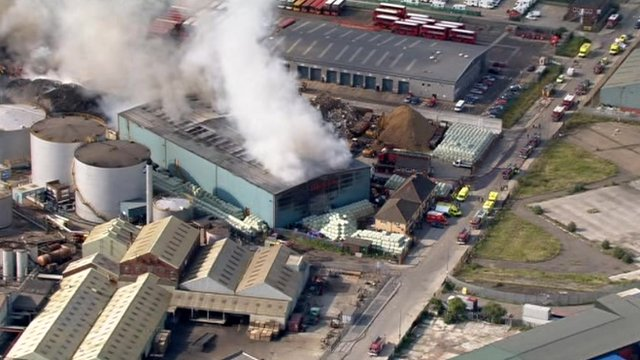 aerial of the fire at a recycling centre in Dagenham