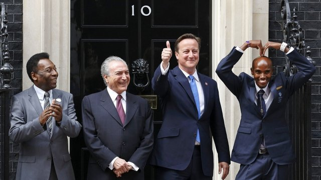 Pele, Michel Temer, David Cameron and Mo Farah