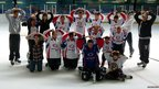 The Spice Jets ice hockey team take on the Mo Farah pose. Picture: Adam Prince