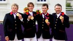 Nick Skelton (left), Ben Maher, Scott Brash and Peter Charles with their gold medals