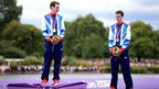 Alistair Brownlee (left) with gold and Jonny Brownlee with bronze