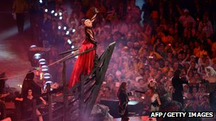 British singer Annie Lennox performs at the Olympic stadium during the closing ceremony of the 2012 London Olympic Games