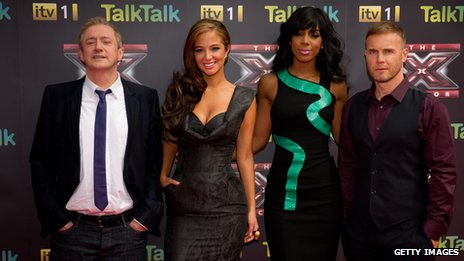 Louis Walsh, Tulisa Contostavlos, Kelly Rowland and Gary Barlow