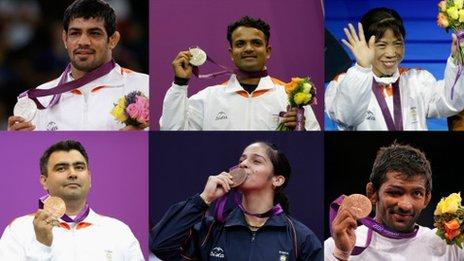 India's Olympic medal winners: Sushil Kumar, Vijay Kumar, Mary Kom, Gagan Narang, Saina Nehwal and Yogeshwar Dutt (clockwise)
