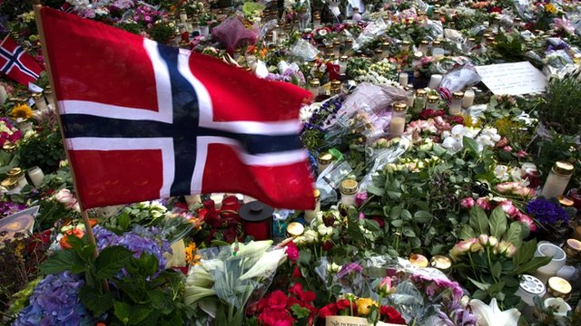 File photo of tributes left for Breivik&#039;s victims